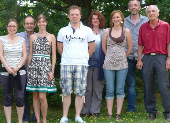 FRAXA Research Team. From left to right: Sandrine Lefeuvre (PhD, Pharmacologist), Sylvain Briault (MD, PhD, head of the team), Julie Maublanc (PhD student, Pharmacologist), Olivier Perche (PhD, hospital engineer), Béatrice Laudier (MD, PhD student), Betty Hébert (PhD student), Arnaud Menuet (PhD, assistant professor) and Jacques Pichon (Professor, Dr es Science).