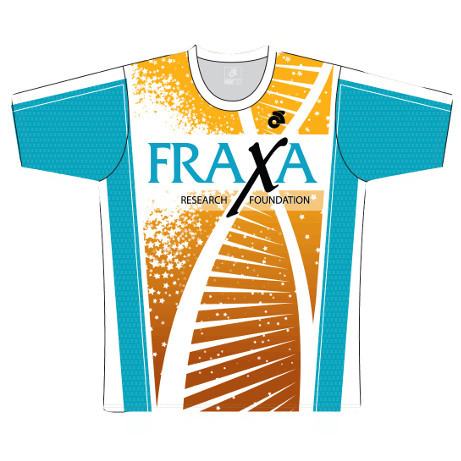 FRAXA for Fragile X, mens running shirt front