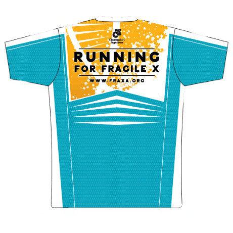 FRAXA for Fragile X, mens running shirt back