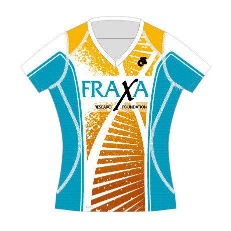 FRAXA for Fragile X, womens running shirt front