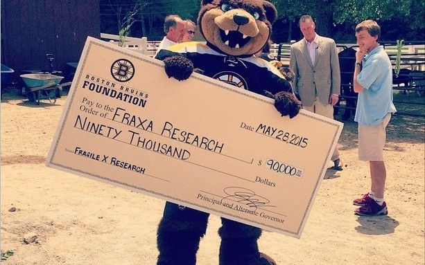 Bruins $90,000 donation to FRAXA for Fragile X research grant