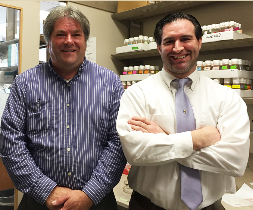 Dr. Tom Jongens and Dr. Sean McBride study Fragile X Fruit Flies