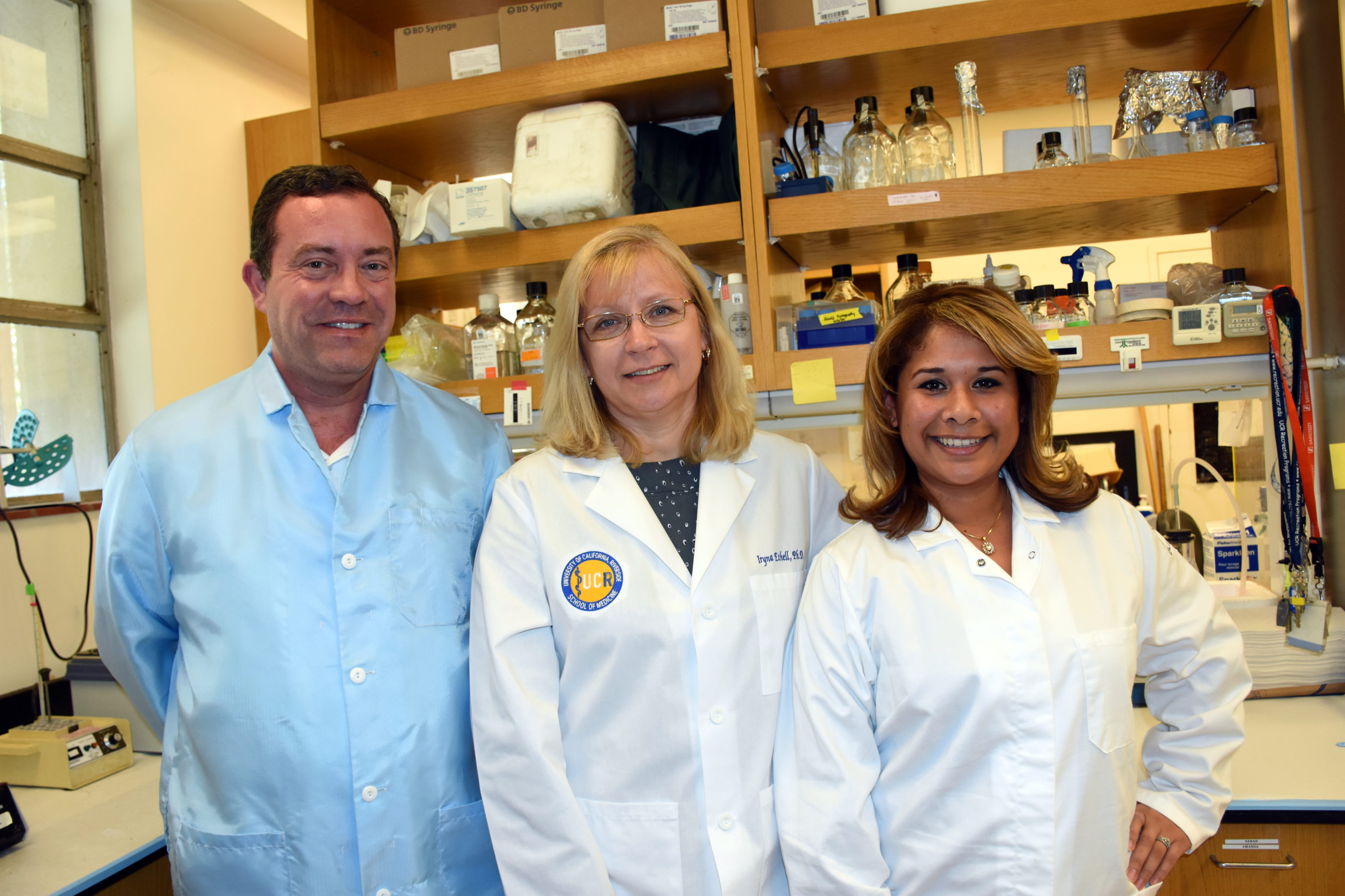 Devon Binder, PhD; Iryna Ethell, PhD, Patricia Pirbhoy, PhD, at UC Riverside School of Medicine