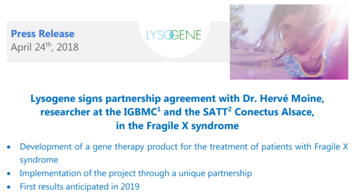 Lysogene Partners with FRAXA Investigator Dr. Hervé Moine to Develop Gene Therapy for Fragile X